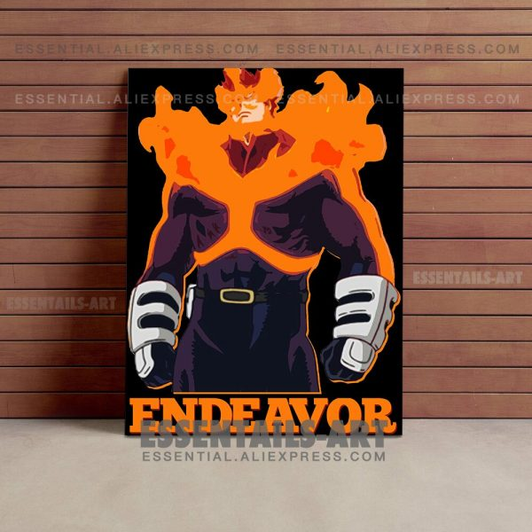Enji Todoroki ENDEAVOR FLAME HERO BNHA Anime Poster Canvas Wall Art Painting Decor Pictures Bedroom Home 1 - BNHA Store