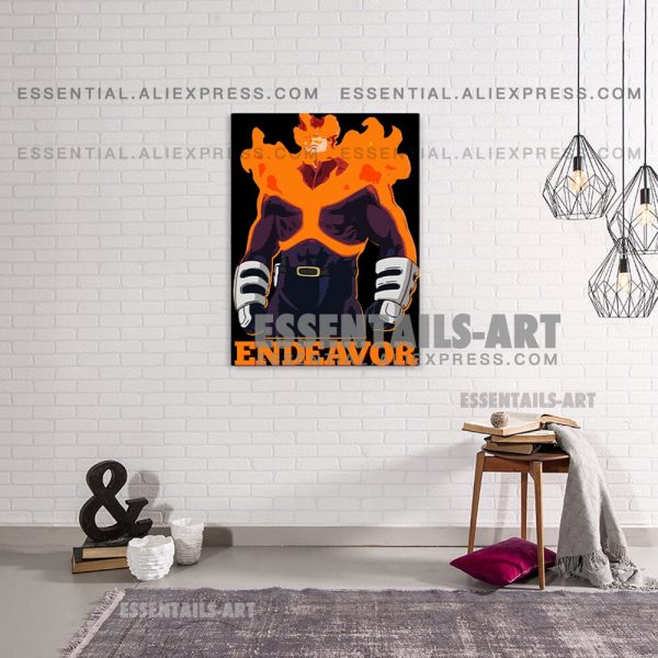 Enji Todoroki ENDEAVOR FLAME HERO BNHA Anime Poster Canvas Wall Art Painting Decor Pictures Bedroom Home 2 - BNHA Store