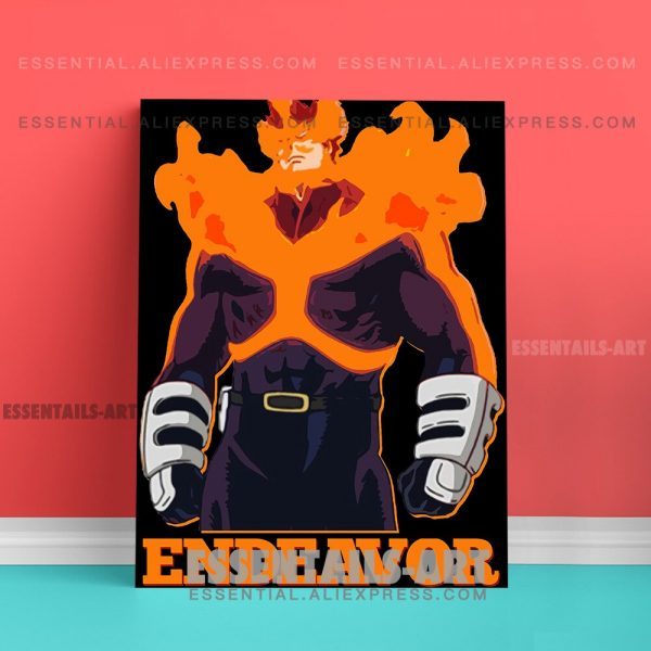 Enji Todoroki ENDEAVOR FLAME HERO BNHA Anime Poster Canvas Wall Art Painting Decor Pictures Bedroom Home 3 - BNHA Store