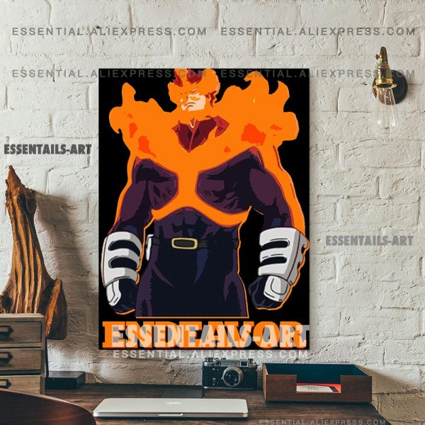 Enji Todoroki ENDEAVOR FLAME HERO BNHA Anime Poster Canvas Wall Art Painting Decor Pictures Bedroom Home 5 - BNHA Store